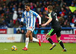 Steve Mounie of Huddersfield Town takes on Dan Gosling of Bournemouth - Mandatory by-line: Robbie Stephenson/JMP - 11/02/2018 - FOOTBALL - The John Smith's Stadium - Huddersfield, England - Huddersfield Town v Bournemouth - Premier League