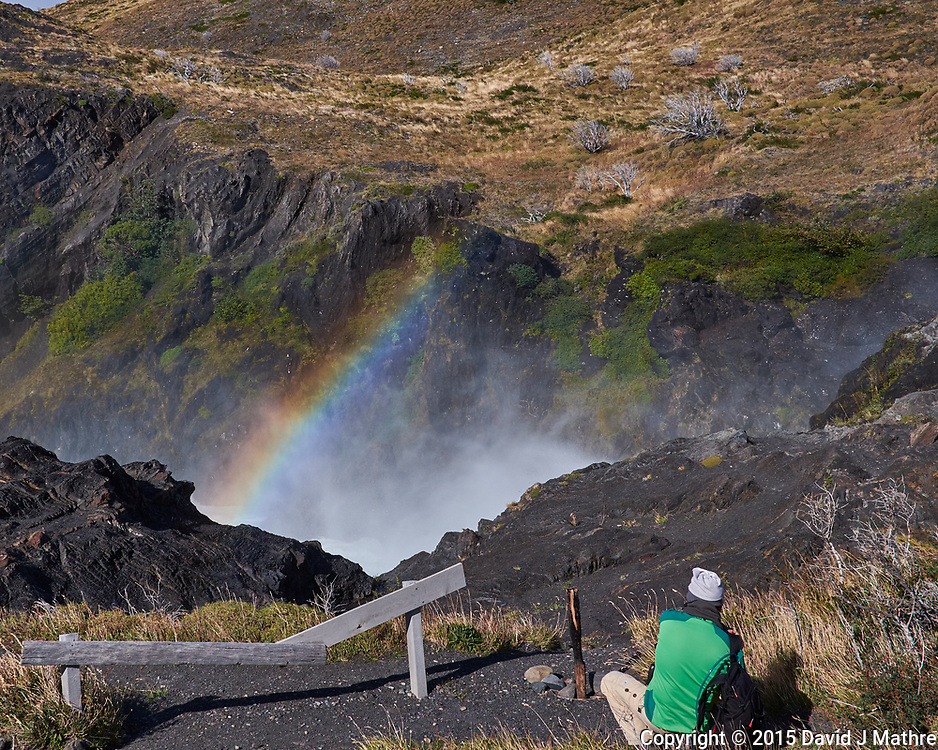 Photographer and Waterfall Rainbow in Torres del Paine National Park. Image taken with a Fuji X-T1 camera and Zeiss 32 mm f/1.8 lens.