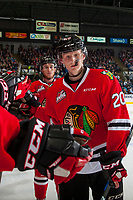 KELOWNA, CANADA - APRIL 14: Matt Revel #18 and Joachim Blichfeld #20 of the Portland Winterhawks fist pump the bench to celebrate a goal against the Kelowna Rockets on April 14, 2017 at Prospera Place in Kelowna, British Columbia, Canada.  (Photo by Marissa Baecker/Shoot the Breeze)  *** Local Caption ***
