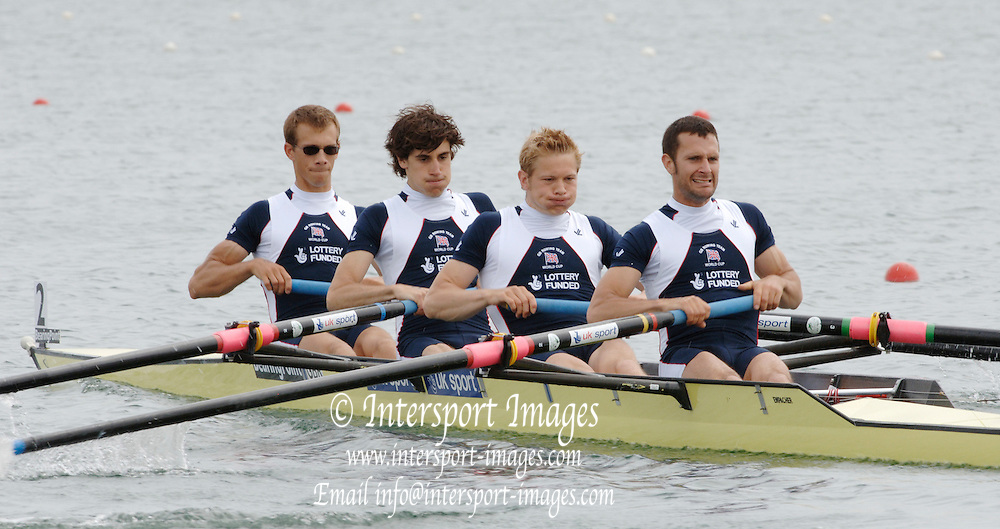 2005 FISA World Cup, Dorney Lake, Eton, ENGLAND, 26.05.05. [Thursday am] GBR Men's lightweight four, left to right , Paul Mattick, Dave Currie, Matt Beachey and Nick Wakefield move a way fro the start pontoon.. Photo  Peter Spurrier. .email images@intersport-images.[Mandatory Credit Peter Spurrier/ Intersport Images] , Rowing Courses, Dorney Lake, Eton. ENGLAND