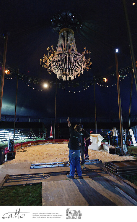 Technicians and crew from Circus Ronaldo work to set up inside the tent at Waitangi Park for their show, Circenses, as part of the New Zealand International Arts Festival.