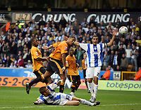 Photo: Rich Eaton.<br /> <br /> Wolverhampton Wanderers v Sheffield Wednesday. Coca Cola Championship. 28/10/2006. Leon Clarke #17  (centre) scores the first goal of the game for Wolves