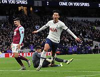 Football - 2019 / 2020 Premier League - Tottenham Hotspur vs. Burnley<br /> <br /> Heung - Min Son of Spurs celebrates scoring goal no 3, at the Tottenham Hotspur Stadium.<br /> <br /> COLORSPORT/ANDREW COWIE