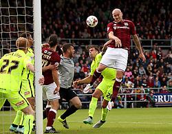 Ryan Cresswell of Northampton Town heads at goal - Mandatory byline: Robbie Stephenson/JMP - 07966 386802 - 10/10/2015 - FOOTBALL - Sixfields Stadium - Northampton, England - Northampton Town v Hartlepool - Sky Bet League Two