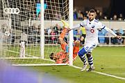 March 2, 2019; San Jose, CA, USA; Montreal Impact midfielder Saphir Taider (8) scores a goal past San Jose Earthquakes goalkeeper Daniel Vega (17) during the first half at Avaya Stadium.