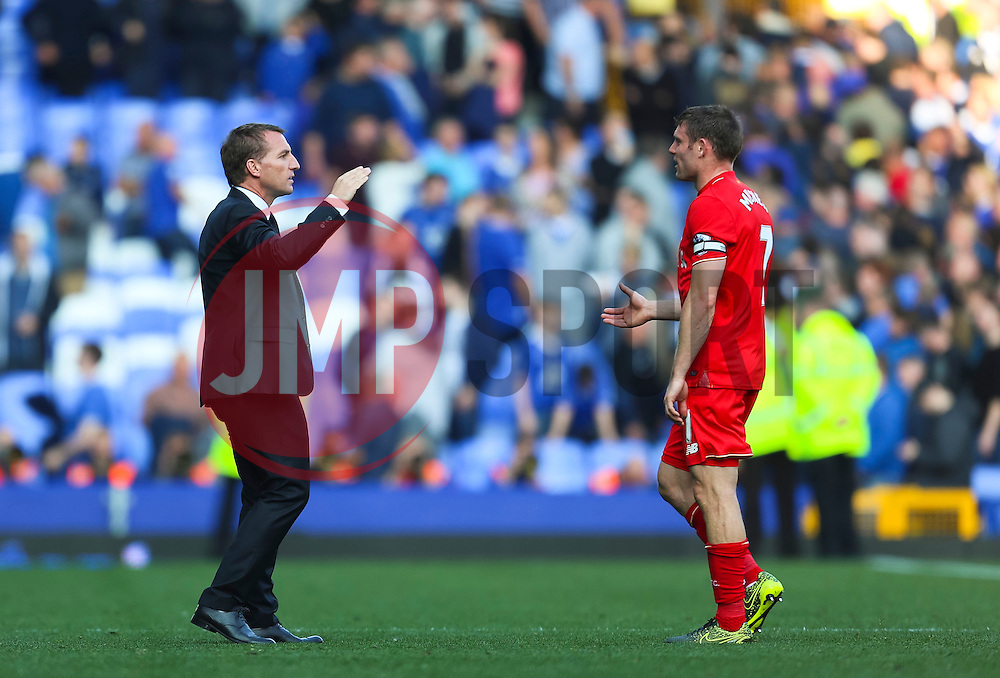 Liverpool Manager, Brendan Rodgers shakes hands with his players at full time, shortly before parting company with the club  - Mandatory byline: Matt McNulty/JMP - 07966 386802 - 04/10/2015 - FOOTBALL - Goodison Park - Liverpool, England - Everton  v Liverpool - Barclays Premier League