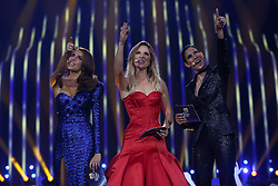 May 7, 2018 - Lisbon, Portugal - Portuguese hosts Catarina Furtado (L), Silvia Alberto ( C) and Daniela Ruah (R ) during the Dress Rehearsal of the first Semi-Final of the 2018 Eurovision Song Contest, at the Altice Arena in Lisbon, Portugal on May 7, 2018. (Credit Image: © Pedro Fiuza/NurPhoto via ZUMA Press)