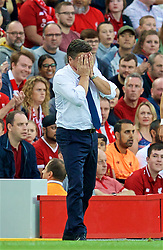 LIVERPOOL, ENGLAND - Tuesday, August 7, 2018: Torino's head coach Walter Mazzarri looks dejected during the preseason friendly match between Liverpool FC and Torino FC at Anfield. (Pic by David Rawcliffe/Propaganda)