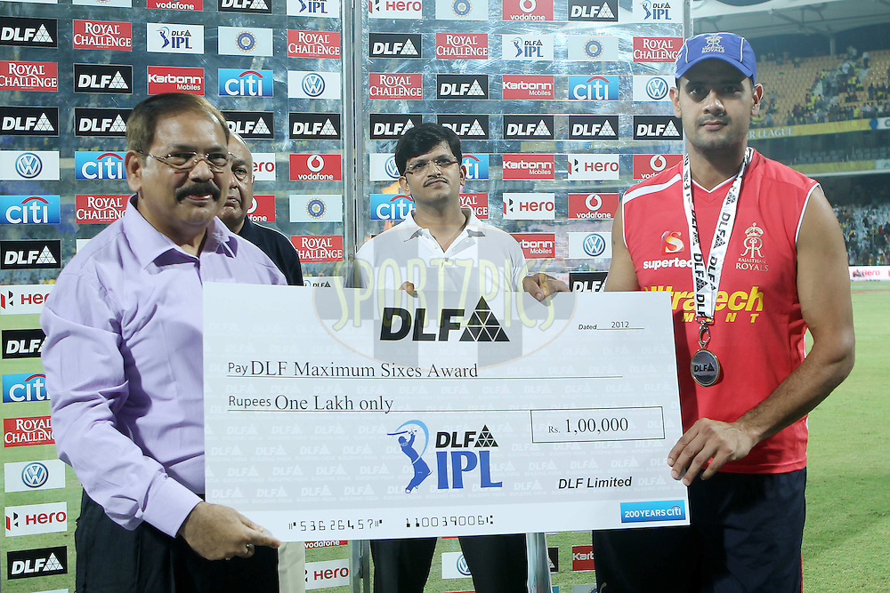 Owais Shah with the DLF Maximum sixes award during match 26 of the the Indian Premier League ( IPL) 2012  between The Chennai Superkings and the Rajasthan Royals held at the M. A. Chidambaram Stadium, Chennai on the 21st April 2012..Photo by Ron Gaunt/IPL/SPORTZPICS