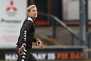 Jussi Jääskeläinen of Wigan Athletic warms up before the EFL Cup match between Oldham Athletic and Wigan Athletic at Boundary Park, Oldham, England on 9 August 2016. Photo by Simon Brady.