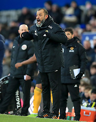 Wolverhampton Wanderers manager Nuno Espirito Santo gives instructions on the touchline during the Premier League match at Goodison Park, Liverpool.