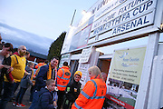 Fans queue up at the turnstiles before The FA Cup match between Sutton United and Arsenal at Gander Green Lane, Sutton, United Kingdom on 20 February 2017. Photo by Phil Duncan.