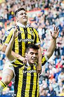 ARNHEM - Vitesse - FC Groningen , Voetbal , Eredivisie, Seizoen 2015/2016 , Gelredome , 03-10-2015 , Vitesse speler Nathan de Souza scoort de 4-0 en viert dit met Vitesse speler Danilo Pantic (l)