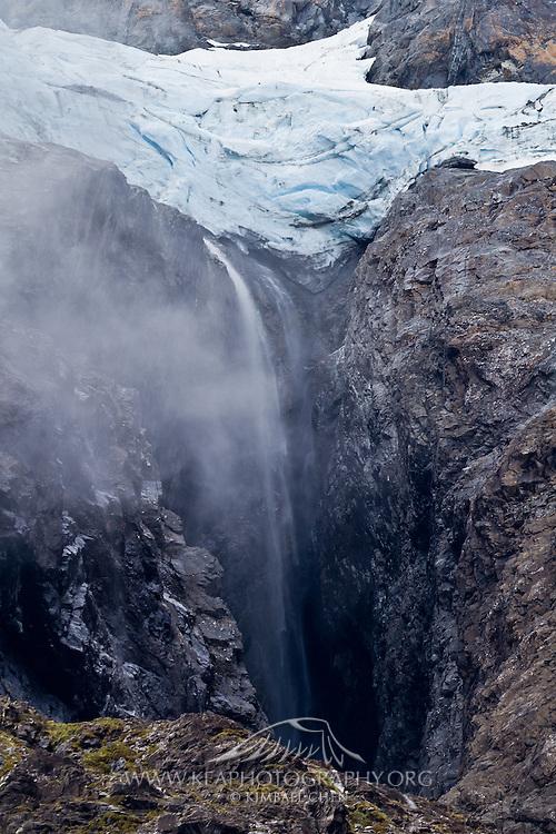 Waterfall at Upper Hollyford Valley, Fiordland, New Zealand