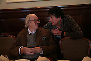 Sir John Mortimer and Mavis Nicolson, Oldie of the Year Awards. Simpsons-in-the-Strand. London. 13 March 2007.  -DO NOT ARCHIVE-© Copyright Photograph by Dafydd Jones. 248 Clapham Rd. London SW9 0PZ. Tel 0207 820 0771. www.dafjones.com.