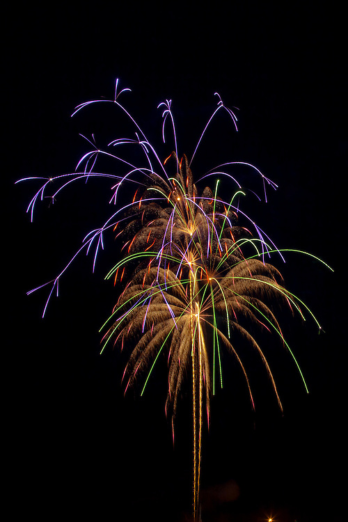 Fireworks over Grand Marais harbor July Fourth 2011