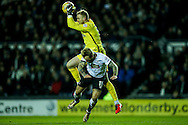 Johnny Russell of Derby County (right) collides with goalkeeper Jason Steele of Blackburn Rovers during the Sky Bet Championship match at the iPro Stadium, Derby<br /> Picture by Andy Kearns/Focus Images Ltd 0781 864 4264<br /> 24/02/2016