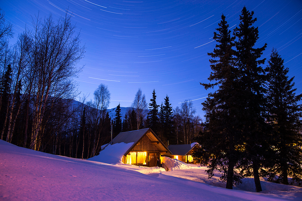 Our cabins at night with a clear sky.