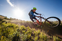Chris Akrigg riding trails at Deer Valley, Utah.