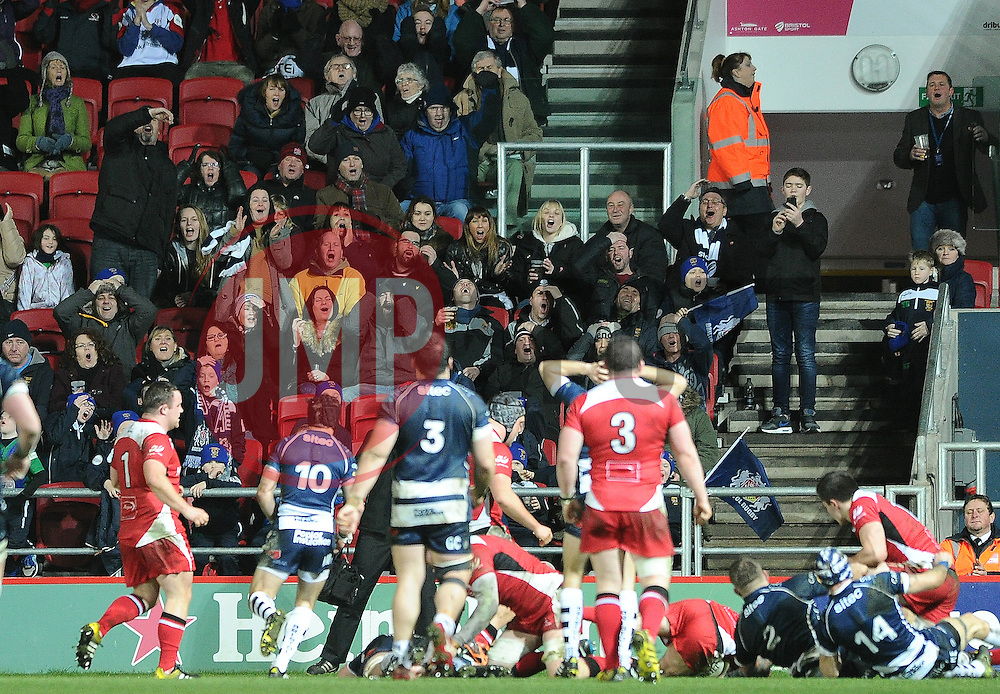 The crowd react as Bristol Rugby come close to scoring - Mandatory byline: Dougie Allward/JMP - 22/01/2016 - RUGBY - Ashton Gate -Bristol,England - Bristol Rugby v Ulster Rugby - B&I Cup