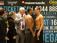 Picture by Alan Stanford/Focus Images Ltd +44 7915 056117<br /> 15/11/2013<br /> James DeGale (L) and Dyah Davis during their weigh in at Glow Bluewater, Greenhithe.