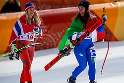 PYEONGCHANG-GUN, SOUTH KOREA - FEBRUARY 21:  Sofia Goggia of Italy (R) and Ragnhild Mowinckel of Norway celebrate after the Ladies' Downhill on day 12 of the PyeongChang 2018 Winter Olympic Games at Jeongseon Alpine Centre on February 21, 2018 in Pyeongchang-gun, South Korea. Photo by Ronald Hoogendoorn / Sportida