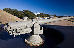 A world war II era artillery gun at Fort Moultrie, Sullivan's Island, South Carolina, United States of America.