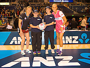 ANZ Future Captains Caitlynne Hill,11 years old and Lily Shortus, 10 years old with Anna Thompson, Tactxi Captain and Renae Hallinan Thunderbirds Captain before the ANZ Championship Netball game between the Mainland Tactix v Adelaide Thunderbirds at Horncastle Arena in Christchurch. 20th April 2015 Photo: Joseph Johnson/www.photosport.co.nz