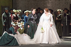 © Licensed to London News Pictures. 20/05/2013. Welsh National Opera present Wagner's Lohengrin, in a co-production with Theatr Wielki, Warsaw. Wales Millennium Centre, Cardiff. Featuring Susan Bickley (Ortrud) & Emma Bell (Elsa von Brabant). Photo credit: Tony Nandi/LNP.