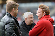 Milton Keynes Dons defender Dean Lewington (3) chats to Milton Keynes Dons manager Karl Robinson during the EFL Sky Bet League 1 match between Milton Keynes Dons and Southend United at stadium:mk, Milton Keynes, England on 22 October 2016. Photo by Dennis Goodwin.