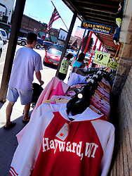 Tourists shopping in downtown Hayward, Wisconsin.