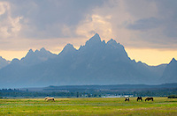 Storm clouds over the Teton Range seen from Cunningham Ranch,  Grand Teton National Park, Wyoming