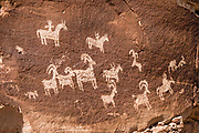 Ute Rock Art (1650-1850), on the trail to Delicate Arch, Wolfe Ranch, Arches National Park, Moab, Utah, USA.