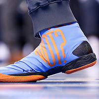 08 May 2016:  Close view of Oklahoma City Thunder guard Russell Westbrook (0) Nike shoes prior to the Oklahoma City Thunder 111-97 victory over the San Antonio Spurs, during Game Four of the Western Conference Semifinals of the NBA Playoffs at the Chesapeake Energy Arena, Oklahoma City, Oklahoma, USA.