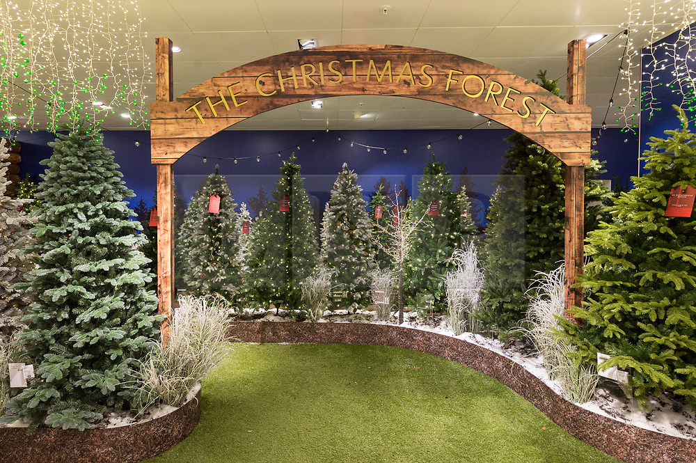 © Licensed to London News Pictures. 19/09/2018. London, UK. John Lewis & Partners launch their annual Christmas Shop featuring 'The Christmas Forest' and a selectyion of over 400 baubles and 30 colours of UK made tinsel. Photo credit: Ray Tang/LNP