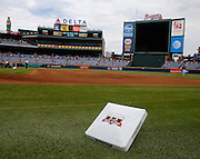 ATLANTA, GA - OCTOBER 2:  A detail shot of a commemorative base to honor the last game at Turner Field before the game between the Detroit Tigers and the Atlanta Braves on Sunday, October 2, 2016 in Atlanta, Georgia. (Photo by Mike Zarrilli/MLB Photos via Getty Images) *** Local Caption ***