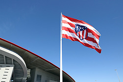 May 3, 2018 - Madrid, Spain - Giant Flag of Atletico de Madrid is pictured at Metropolitano stadium ahead of the UEFA Europa League, semi final, 2nd leg football match between Atletico de Madrid and Arsenal FC on May 3, 2018 at Metropolitano stadium in Madrid, Spain (Credit Image: © Manuel Blondeau via ZUMA Wire)