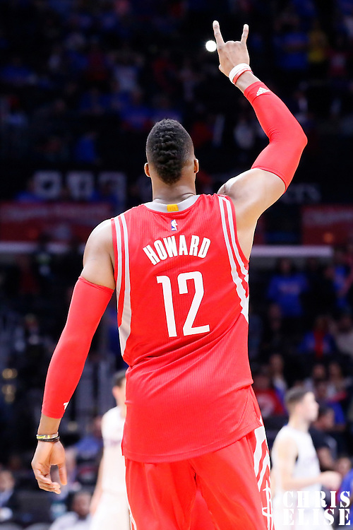 14 May 2015: Houston Rockets center Dwight Howard (12) celebrates during the Houston Rockets 119-107 victory over the Los Angeles Clippers, in game 6 of the Western Conference semifinals, at the Staples Center, Los Angeles, California, USA.