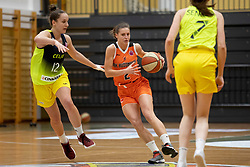 Zala Friskovec of ZKK Cinkarna Celje and Zuzana Ivancakova of MBK Ruzomberok in action during basketball match between ZKK Cinkarna Celje (SLO) and MBK Ruzomberok (SVK) in Round #6 of Women EuroCup 2018/19, on December 13, 2018 in Gimnazija Celje Center, Celje, Slovenia. Photo by Urban Urbanc / Sportida