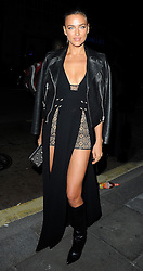 Model Irina Shayk attends the afterparty for the Versus show during London Fashion Week Spring/Summer 2016/17 in London, UK. 19/09/2015<br />BYLINE MUST READ : GOTCHAIMAGES.COM<br /><br />Copyright by © Gotcha Images Ltd. All rights reserved.<br />Usage of this image is conditional upon the acceptance <br />of Gotcha Images Ltd, terms and conditions available at<br />www.gotchaimages.com