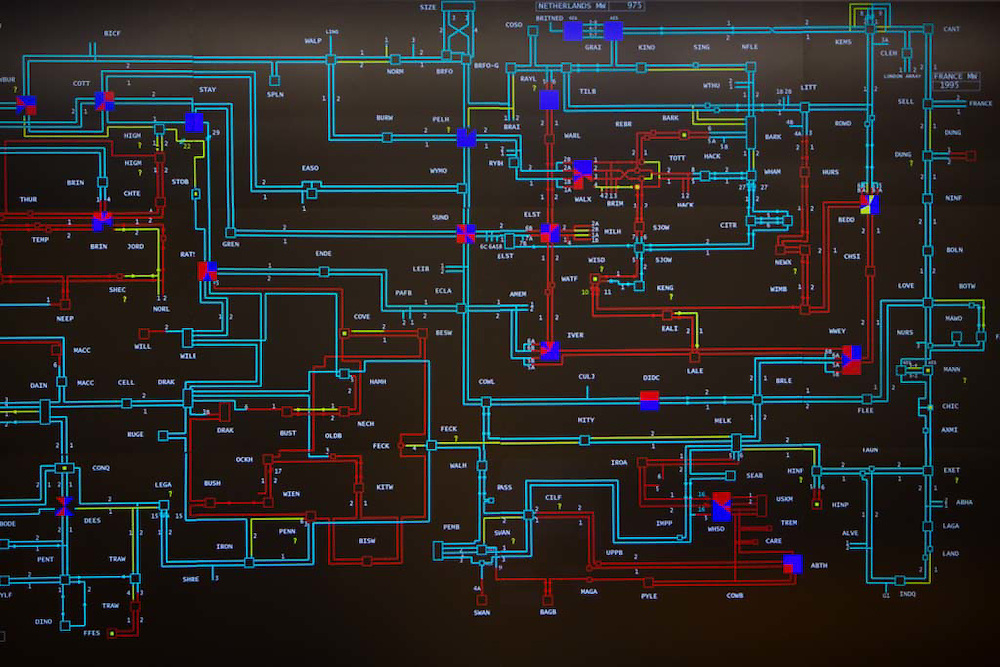 The Map inside the National Grid electricity control room that monitors the flow of high voltage electric power around the entire UK network from their head quarters in Berkshire, United Kingdom. (photo by Andrew Aitchison / In pictures via Getty Images)