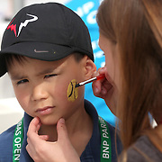 March 1, 2014, Palm Springs, California: <br /> A boy has his face painted during Kids Day at the Indian Wells Tennis Garden sponsored by the Coachella Valley National Junior Tennis and Learning Network.<br /> (Photo by Billie Weiss/BNP Paribas Open)