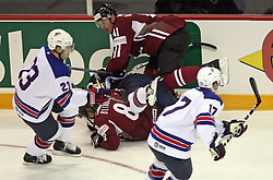 From top: Raitis Ivanans (41), Pat Kane (83) and Viktors Blinovs (8) at ice-hockey match USA vs Latvia at IIHF WC 2008 in Halifax,  on May 02, 2008 in Metro Center, Halifax, Canada.  (Photo by Vid Ponikvar / Sportal Images)