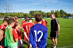 NEWPORT, WALES - Wednesday, July 25, 2018: Combined Regional head coach Craig Knight talks to his players during the Welsh Football Trust Cymru Cup 2018 at Dragon Park. (Pic by Paul Greenwood/Propaganda)