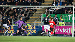 Rangers McKay scoring their second goal. <br /> Falkirk 3 v 2 Rangers, Scottish Championship game player at The Falkirk Stadium, 18/3/2016.