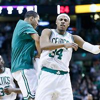 07 February 2013: Boston Celtics small forward Paul Pierce (34) celebrates with Boston Celtics shooting guard Courtney Lee (11) during the Boston Celtics 116-95 victory over the Los Angeles Lakers at the TD Garden, Boston, Massachusetts, USA.