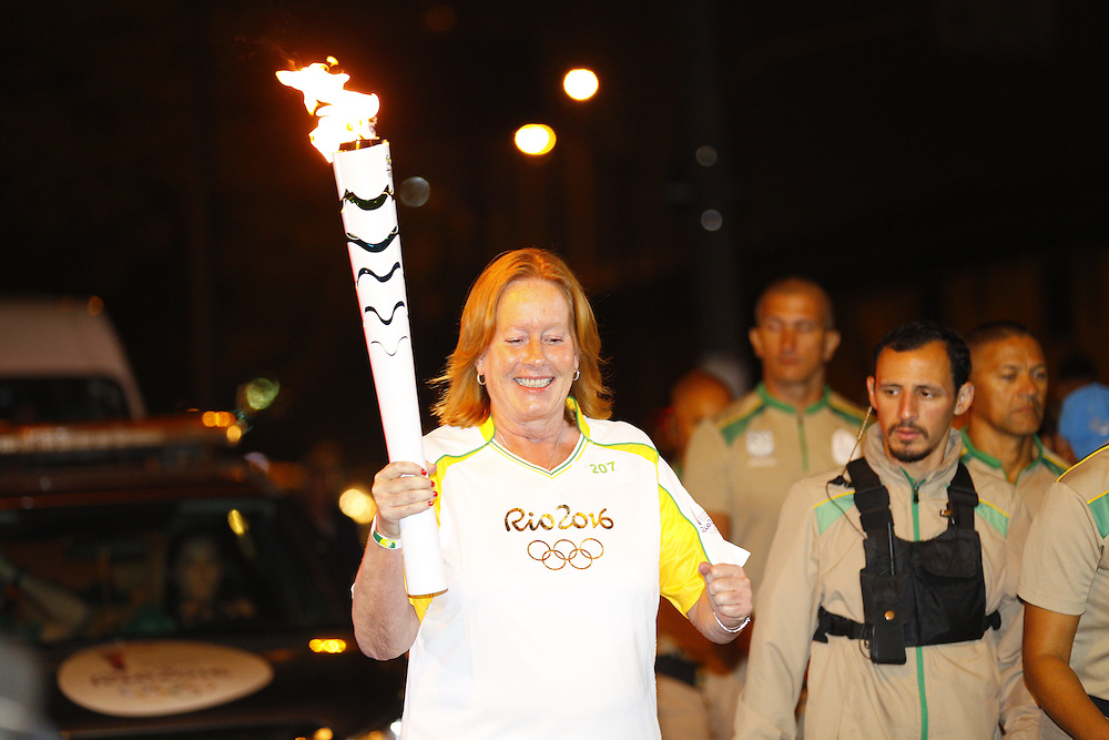 Santos, BRASIL - July 22 of 2016:  Ms Eva Kockum, EF's president, during the Olympic Torch relay in Santos, Brazil.  Photo: CAIO GUATELLI