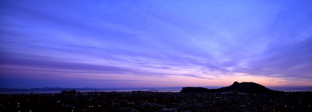 Sunrise over Edinburgh from Blackford Hill