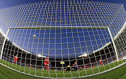 Photo from behind of Turkish goal during the UEFA EURO 2008 Quarter-Final soccer match between Croatia and Turkey at Ernst-Happel Stadium, on June 20,2008, in Wien, Austria.  Won of Turkey after penalty shots. (Photo by Vid Ponikvar / Sportal Images)