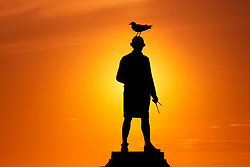 © Licensed to London News Pictures. 04/05/2017. Whitby UK. A bird sits on top of the Captain Cook memorial in Whitby as the sun rises this morning. Photo credit: Andrew McCaren/LNP